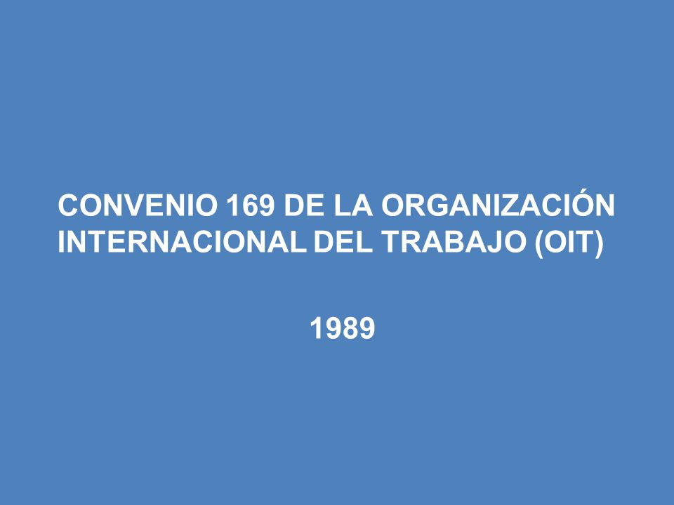CONVENIO 169 DE LA ORGANIZACIÓN INTERNACIONAL DEL TRABAJO (OIT) 1989