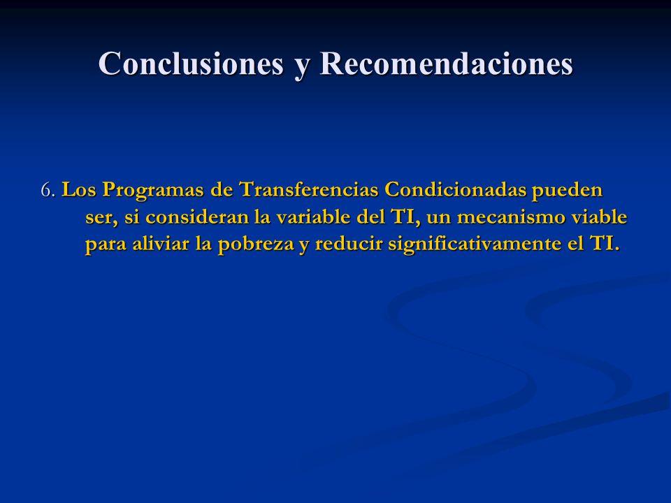 Conclusiones y Recomendaciones 6. Los Programas de Transferencias Condicionadas pueden ser, si consideran la variable del TI, un mecanismo viable para