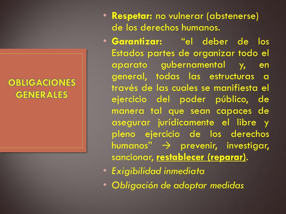 Respetar: no vulnerar (abstenerse) de los derechos humanos.