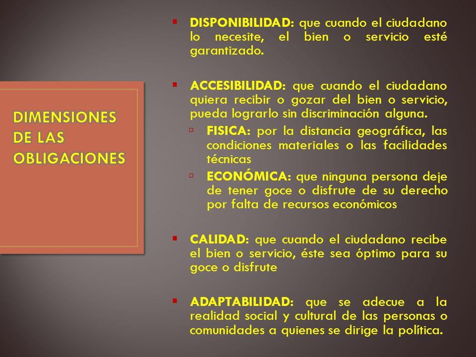 DISPONIBILIDAD: que cuando el ciudadano lo necesite, el bien o servicio esté garantizado.