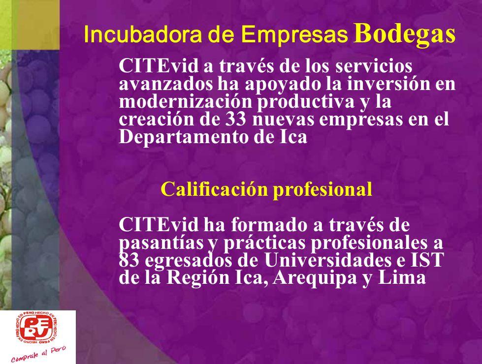 Servicios Avanzados a Bodegas CITEvid es Proveedor de: Análisis de Laboratorio (Mostos, Piscos y Vinos) Asistencia Técnica especializada y capacitació