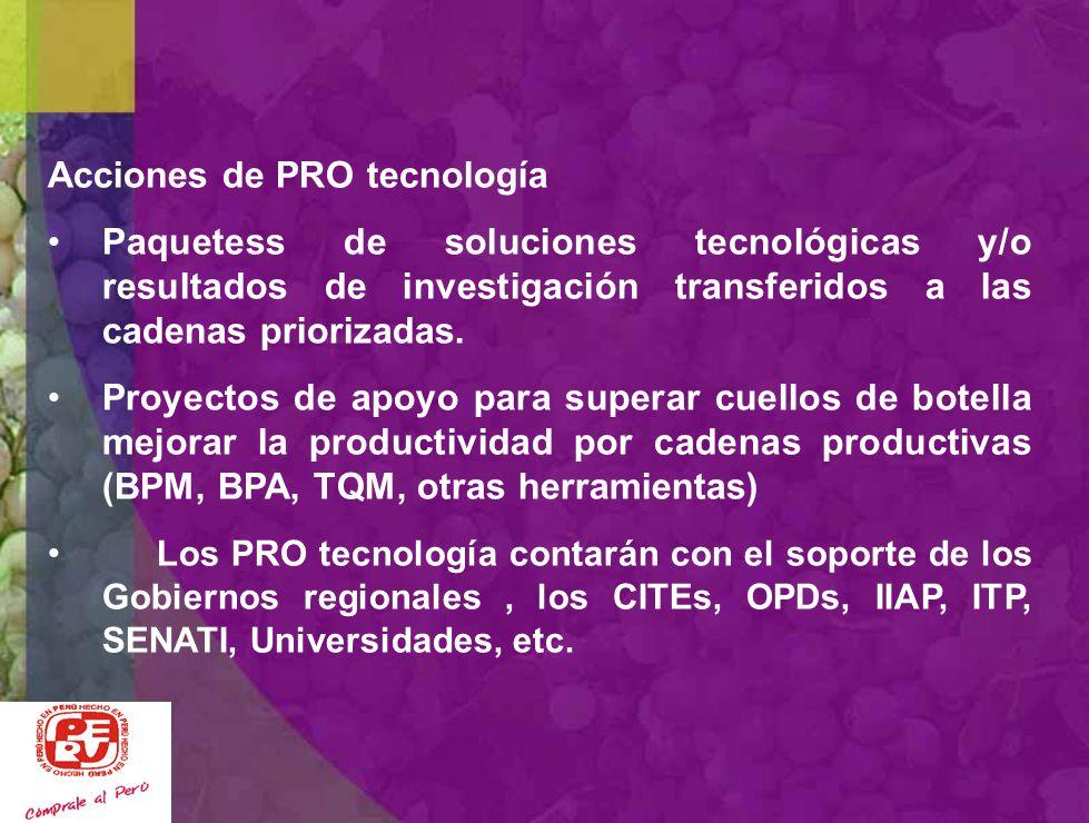 Programa PRO Tecnología Implementar Programas de transferencia tecnológica descentralizados orientados a las cadenas productivas priorizadas EN CADA L