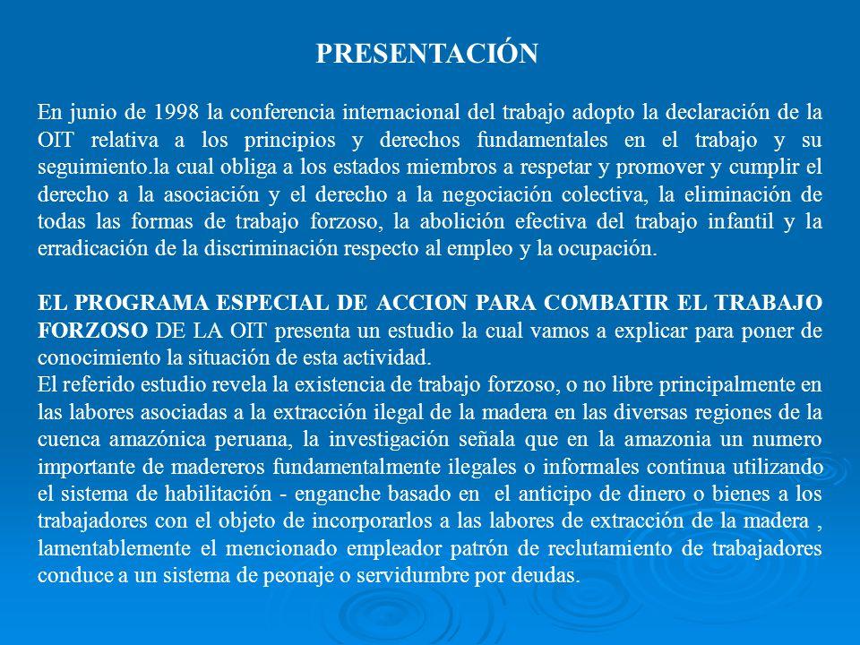 TRABAJO FORZOSO : EXTRACCIÓN DE MADERA EN LA AMAZONIA Expositor ECO. Walter Bautista Gomez Pucallpa, Julio del 2005 MINISTERIO DE TRABAJO Y PROMOCION