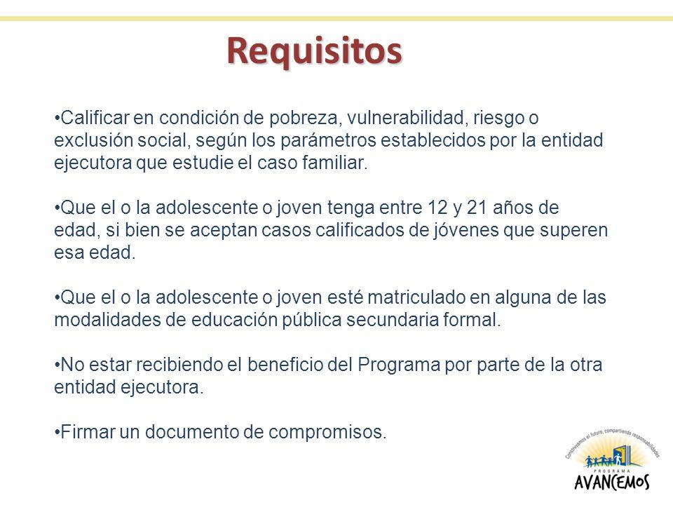 Requisitos Calificar en condición de pobreza, vulnerabilidad, riesgo o exclusión social, según los parámetros establecidos por la entidad ejecutora qu