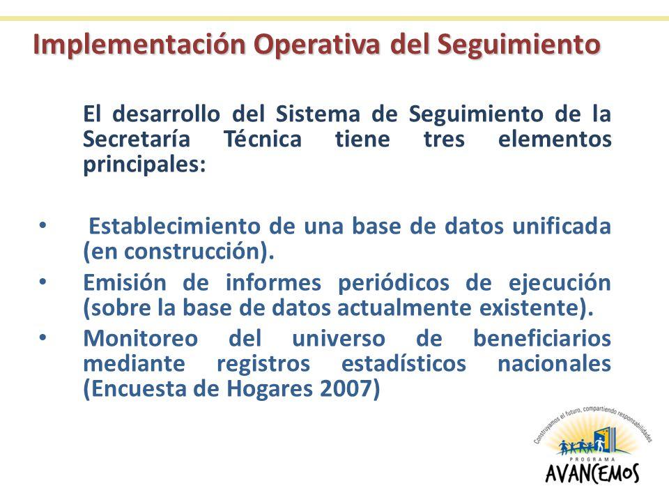Implementación Operativa del Seguimiento El desarrollo del Sistema de Seguimiento de la Secretaría Técnica tiene tres elementos principales: Estableci