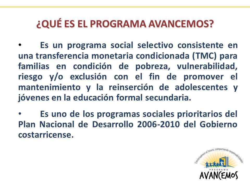 Triple objetivo del Programa AVANCEMOS Reducir la pobreza Favorecer la universalización de la secundaria Contribuir a enfrentar y prevenir el trabajo infantil