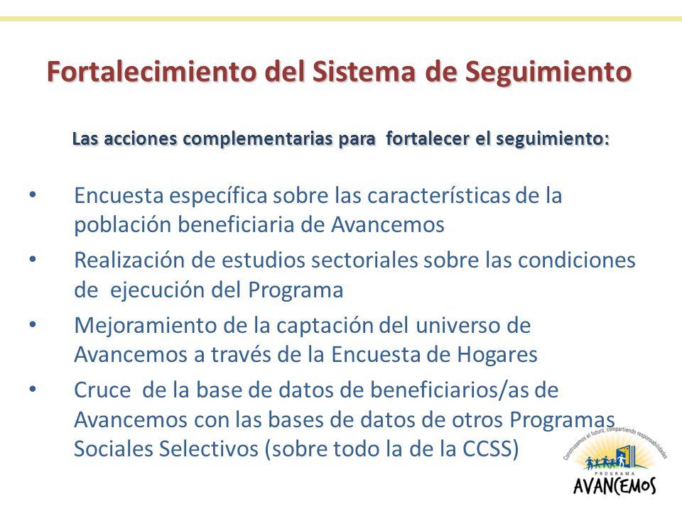 Encuesta específica sobre las características de la población beneficiaria de Avancemos Realización de estudios sectoriales sobre las condiciones de ejecución del Programa Mejoramiento de la captación del universo de Avancemos a través de la Encuesta de Hogares Cruce de la base de datos de beneficiarios/as de Avancemos con las bases de datos de otros Programas Sociales Selectivos (sobre todo la de la CCSS) Las acciones complementarias para fortalecer el seguimiento: Fortalecimiento del Sistema de Seguimiento