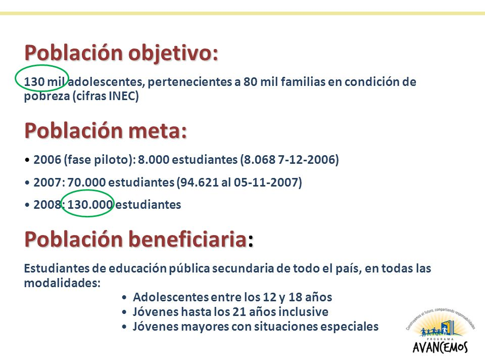 Población objetivo: 130 mil adolescentes, pertenecientes a 80 mil familias en condición de pobreza (cifras INEC) Población meta: 2006 (fase piloto): 8