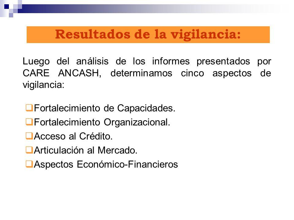 Resultados de la vigilancia: Luego del análisis de los informes presentados por CARE ANCASH, determinamos cinco aspectos de vigilancia: Fortalecimient