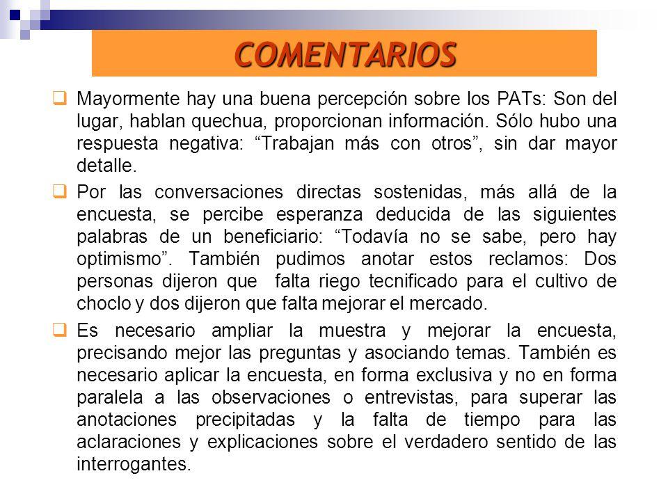 Mayormente hay una buena percepción sobre los PATs: Son del lugar, hablan quechua, proporcionan información. Sólo hubo una respuesta negativa: Trabaja