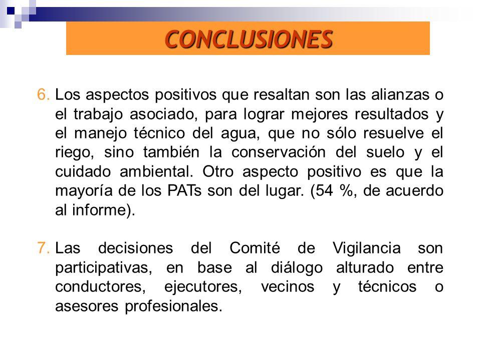 CONCLUSIONES 6.Los aspectos positivos que resaltan son las alianzas o el trabajo asociado, para lograr mejores resultados y el manejo técnico del agua