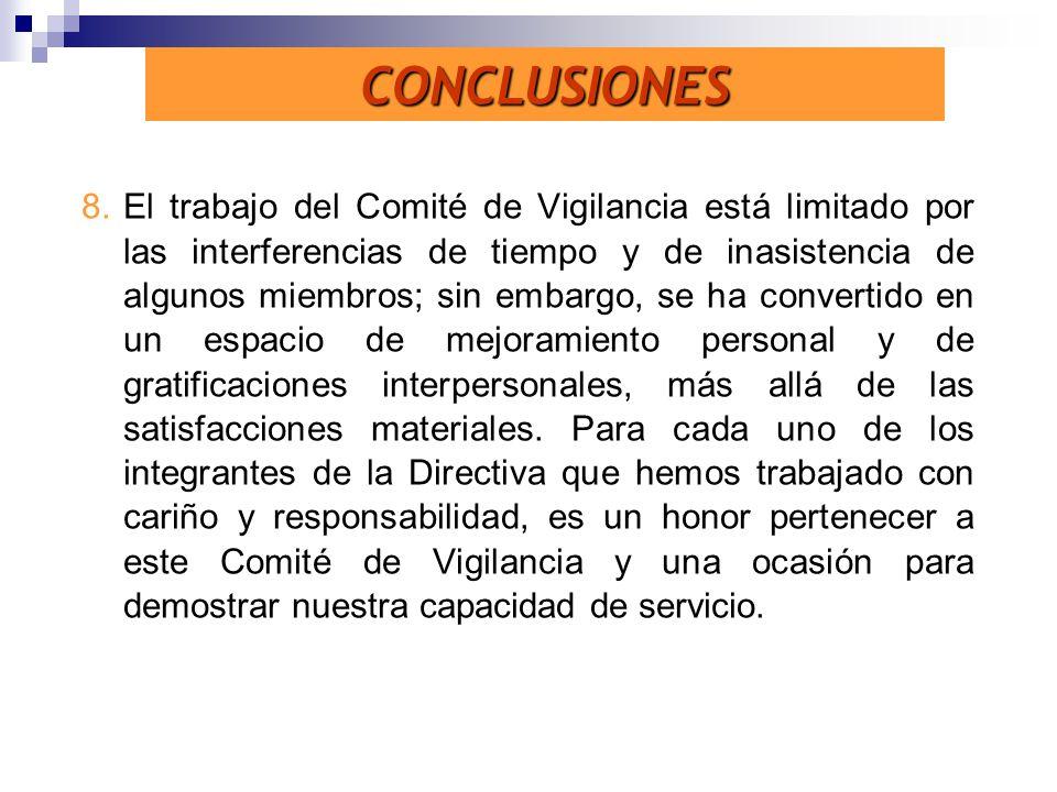 8.El trabajo del Comité de Vigilancia está limitado por las interferencias de tiempo y de inasistencia de algunos miembros; sin embargo, se ha convert