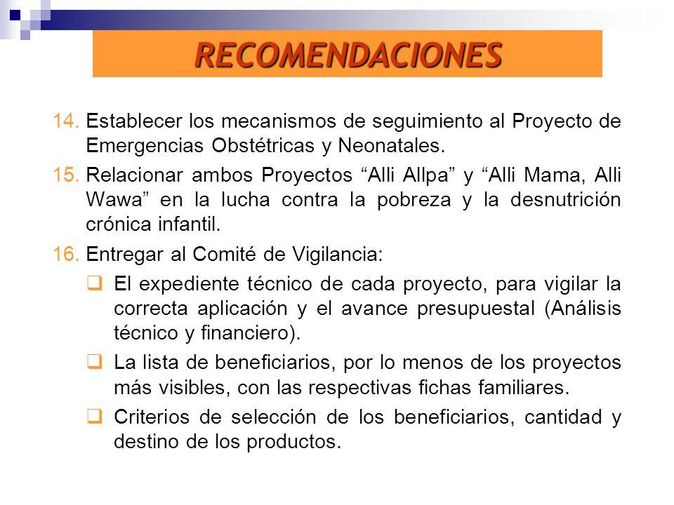 14.Establecer los mecanismos de seguimiento al Proyecto de Emergencias Obstétricas y Neonatales. 15.Relacionar ambos Proyectos Alli Allpa y Alli Mama,