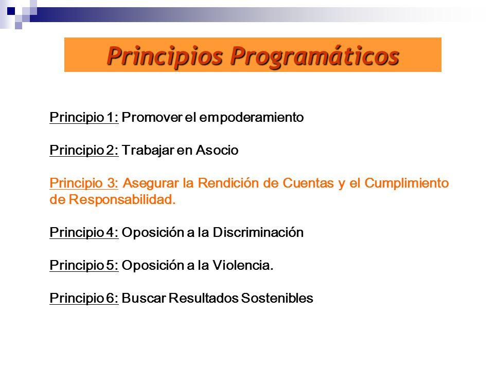 Principios Programáticos Principio 1: Promover el empoderamiento Principio 2: Trabajar en Asocio Principio 3: Asegurar la Rendición de Cuentas y el Cu