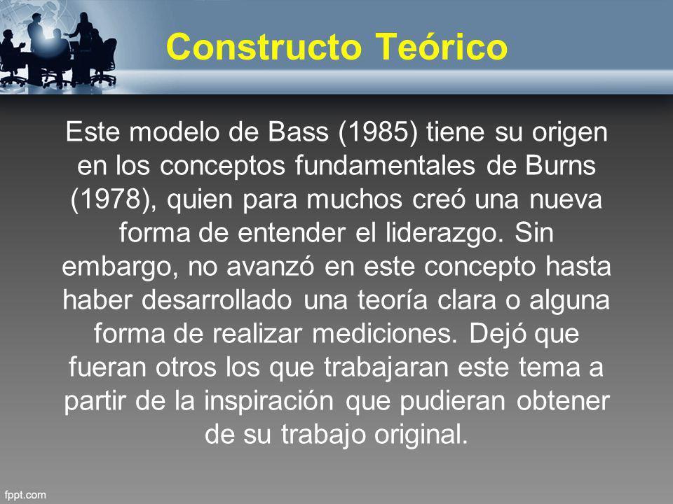 Constructo Teórico Este modelo de Bass (1985) tiene su origen en los conceptos fundamentales de Burns (1978), quien para muchos creó una nueva forma d