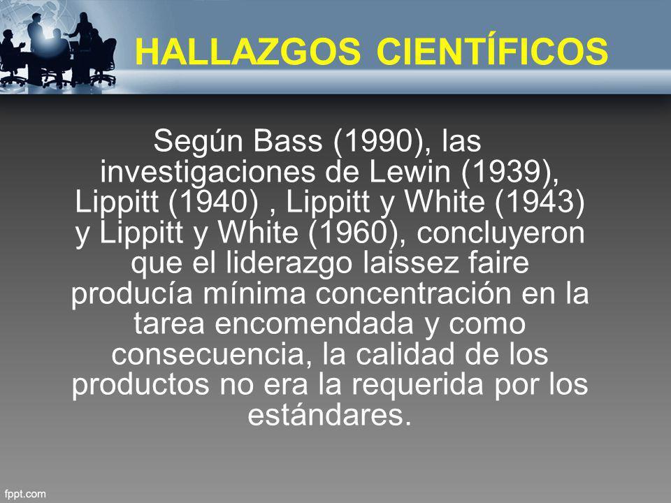 HALLAZGOS CIENTÍFICOS Según Bass (1990), las investigaciones de Lewin (1939), Lippitt (1940), Lippitt y White (1943) y Lippitt y White (1960), concluy