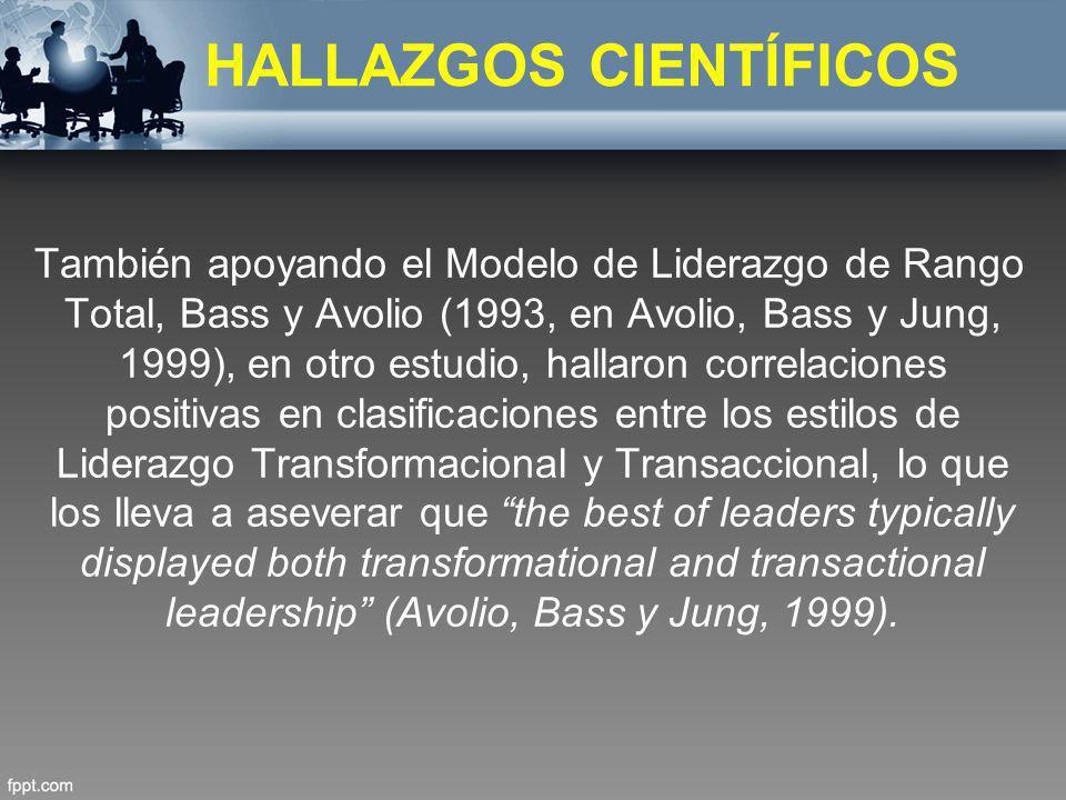 También apoyando el Modelo de Liderazgo de Rango Total, Bass y Avolio (1993, en Avolio, Bass y Jung, 1999), en otro estudio, hallaron correlaciones po