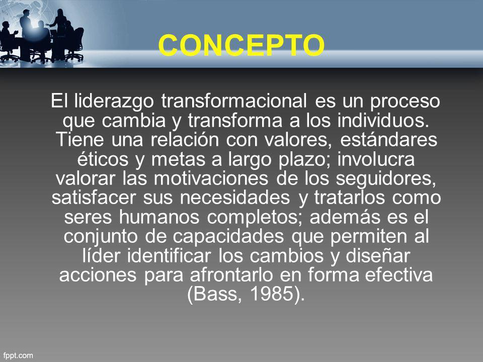 CONCEPTO El liderazgo transformacional es un proceso que cambia y transforma a los individuos. Tiene una relación con valores, estándares éticos y met