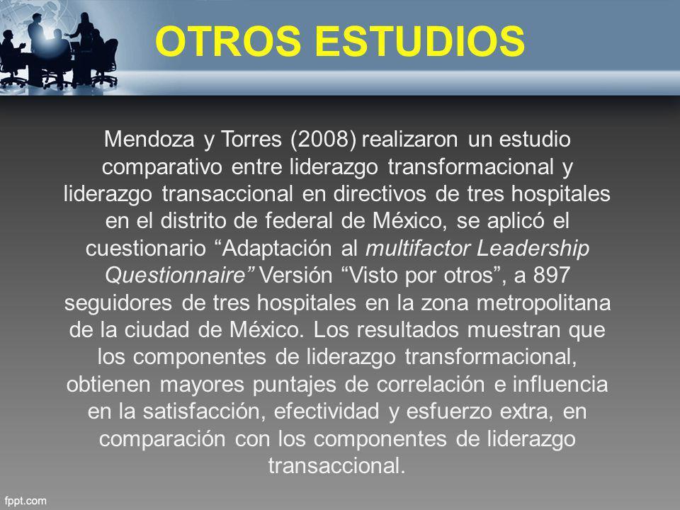 OTROS ESTUDIOS Mendoza y Torres (2008) realizaron un estudio comparativo entre liderazgo transformacional y liderazgo transaccional en directivos de t