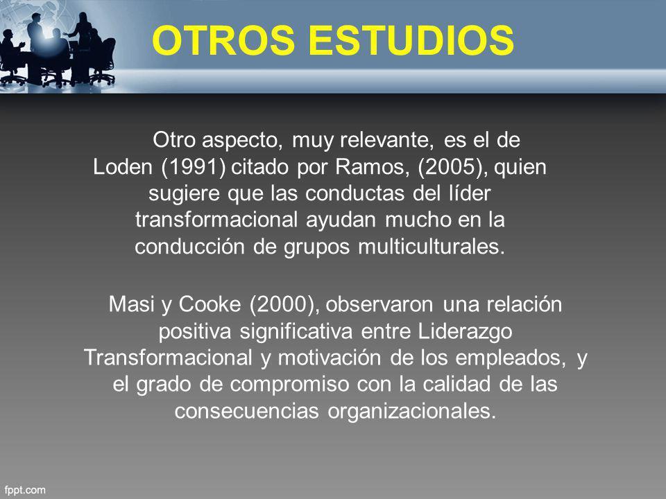 OTROS ESTUDIOS Otro aspecto, muy relevante, es el de Loden (1991) citado por Ramos, (2005), quien sugiere que las conductas del líder transformacional