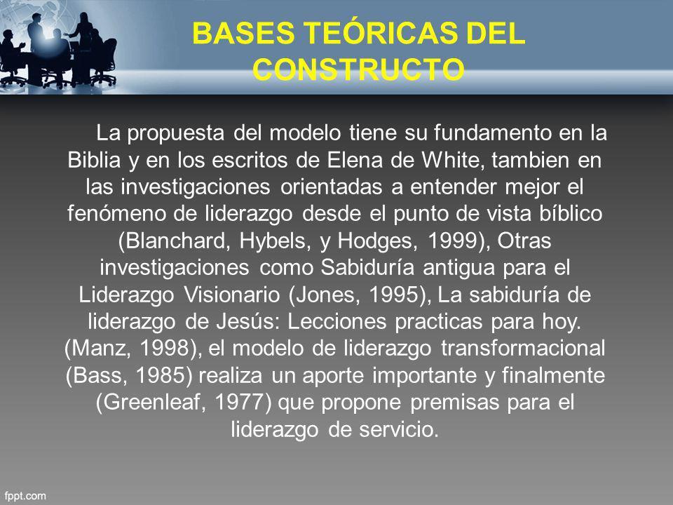 BASES TEÓRICAS DEL CONSTRUCTO La propuesta del modelo tiene su fundamento en la Biblia y en los escritos de Elena de White, tambien en las investigaci