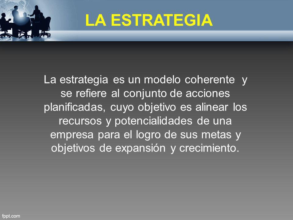 LA ESTRATEGIA La estrategia es un modelo coherente y se refiere al conjunto de acciones planificadas, cuyo objetivo es alinear los recursos y potencia