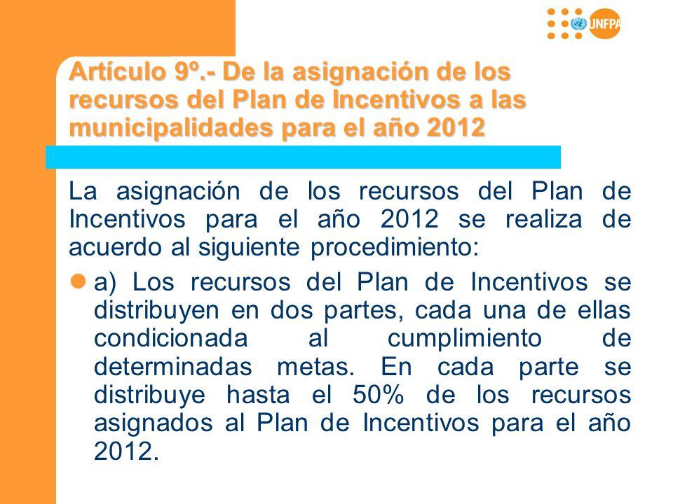 Artículo 9º.- De la asignación de los recursos del Plan de Incentivos a las municipalidades para el año 2012 La asignación de los recursos del Plan de