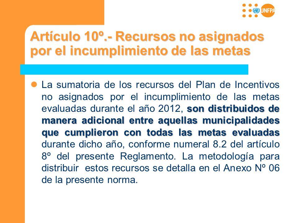 Artículo 10º.- Recursos no asignados por el incumplimiento de las metas son distribuidos de manera adicional entre aquellas municipalidades que cumpli
