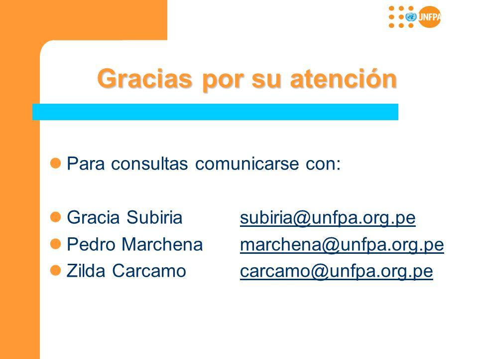 Gracias por su atención Gracias por su atención Para consultas comunicarse con: Gracia Subiriasubiria@unfpa.org.pesubiria@unfpa.org.pe Pedro Marchenam