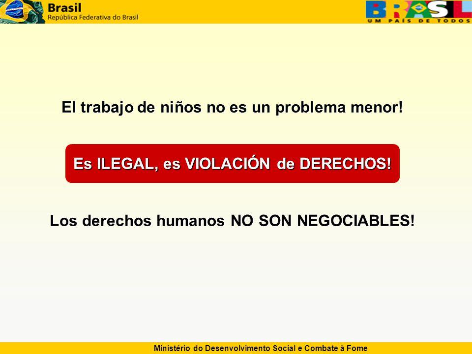 Ministério do Desenvolvimento Social e Combate à Fome El trabajo de niños no es un problema menor.