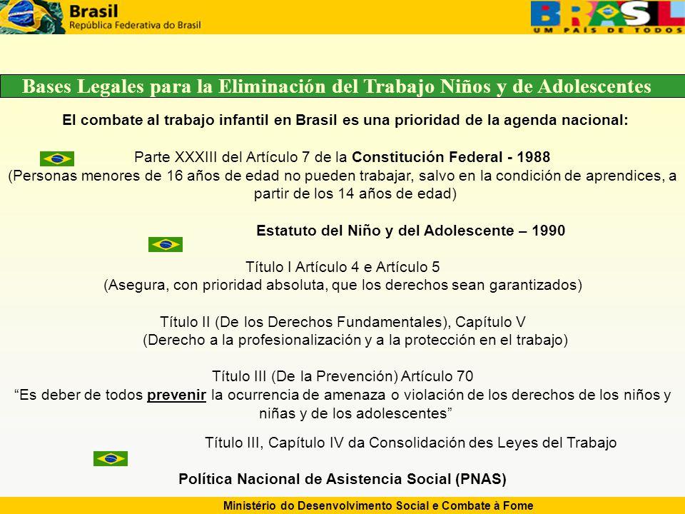 Ministério do Desenvolvimento Social e Combate à Fome El combate al trabajo infantil en Brasil es una prioridad de la agenda nacional: Parte XXXIII del Artículo 7 de la Constitución Federal - 1988 (Personas menores de 16 años de edad no pueden trabajar, salvo en la condición de aprendices, a partir de los 14 años de edad) Estatuto del Niño y del Adolescente – 1990 Título I Artículo 4 e Artículo 5 (Asegura, con prioridad absoluta, que los derechos sean garantizados) Título II (De los Derechos Fundamentales), Capítulo V (Derecho a la profesionalización y a la protección en el trabajo) Título III (De la Prevención) Artículo 70 Es deber de todos prevenir la ocurrencia de amenaza o violación de los derechos de los niños y niñas y de los adolescentes Título III, Capítulo IV da Consolidación des Leyes del Trabajo Política Nacional de Asistencia Social (PNAS) Bases Legales para la Eliminación del Trabajo Niños y de Adolescentes