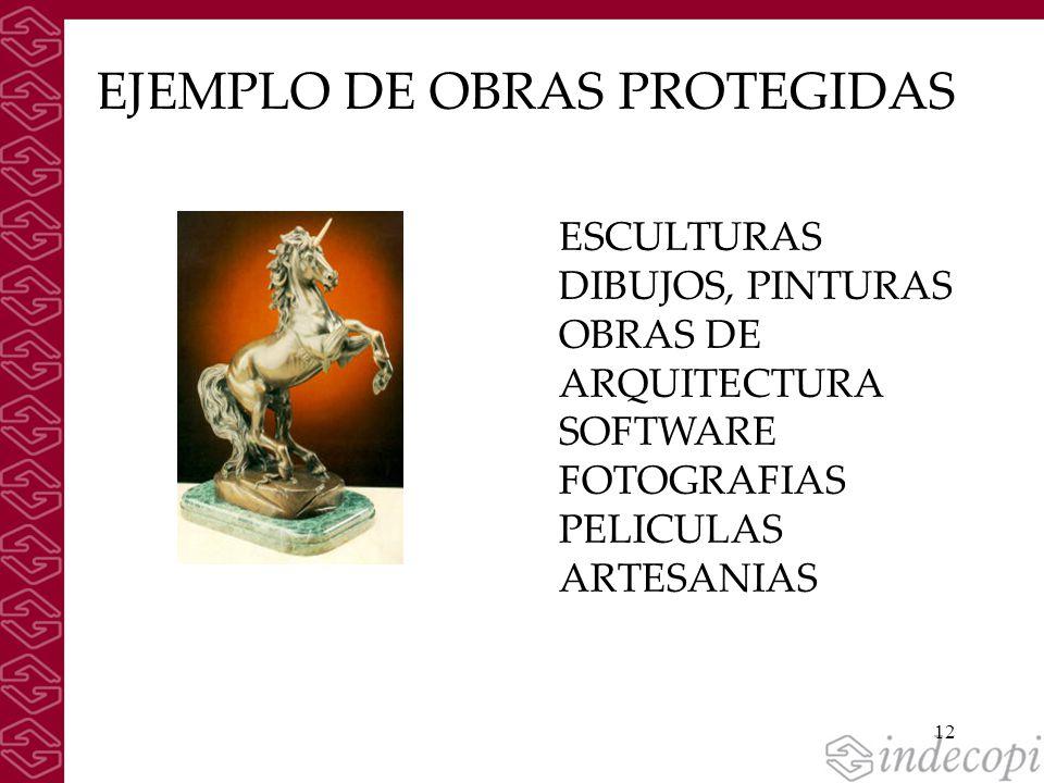 12 EJEMPLO DE OBRAS PROTEGIDAS ESCULTURAS DIBUJOS, PINTURAS OBRAS DE ARQUITECTURA SOFTWARE FOTOGRAFIAS PELICULAS ARTESANIAS