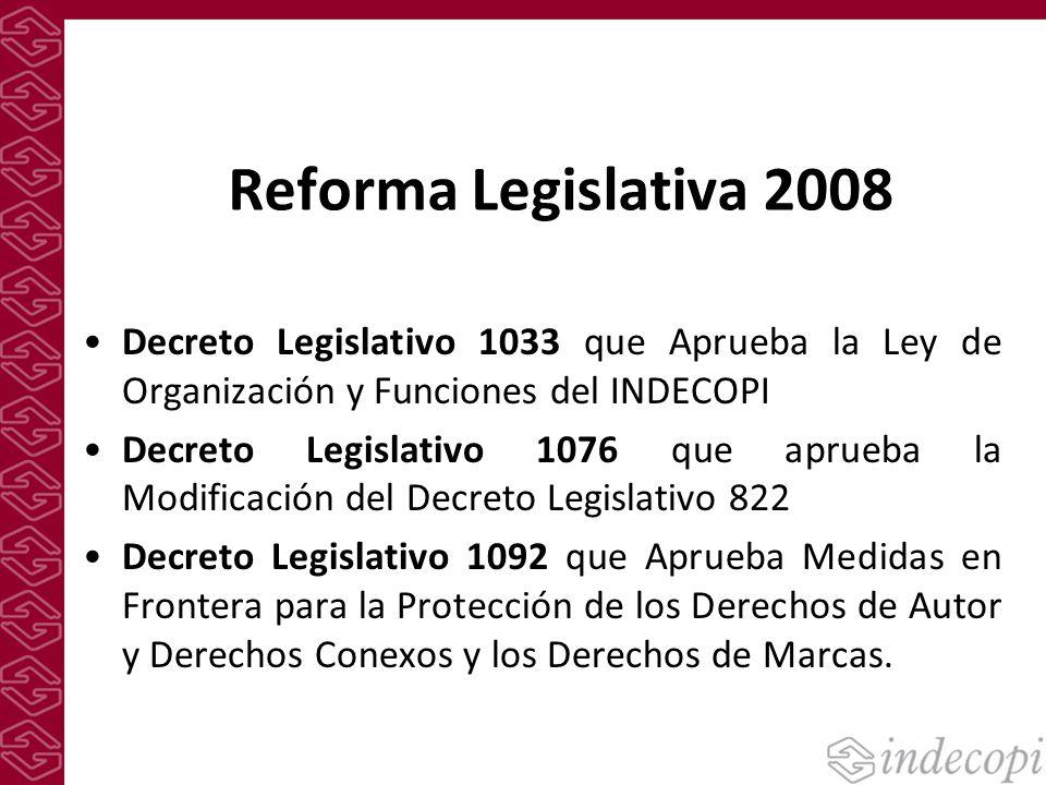 Reforma Legislativa 2008 Decreto Legislativo 1033 que Aprueba la Ley de Organización y Funciones del INDECOPI Decreto Legislativo 1076 que aprueba la