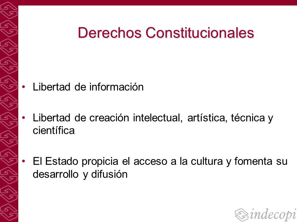 Derechos Constitucionales Libertad de información Libertad de creación intelectual, artística, técnica y científica El Estado propicia el acceso a la