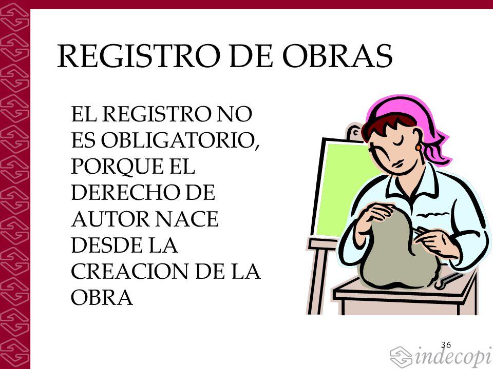 36 REGISTRO DE OBRAS EL REGISTRO NO ES OBLIGATORIO, PORQUE EL DERECHO DE AUTOR NACE DESDE LA CREACION DE LA OBRA
