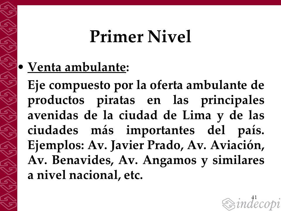 41 Primer Nivel Venta ambulante: Eje compuesto por la oferta ambulante de productos piratas en las principales avenidas de la ciudad de Lima y de las