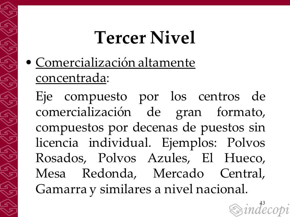 43 Tercer Nivel Comercialización altamente concentrada: Eje compuesto por los centros de comercialización de gran formato, compuestos por decenas de p