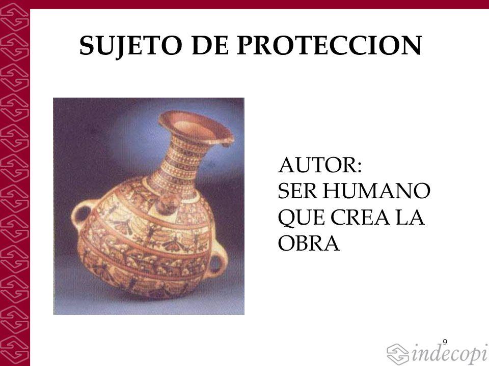 9 SUJETO DE PROTECCION AUTOR: SER HUMANO QUE CREA LA OBRA