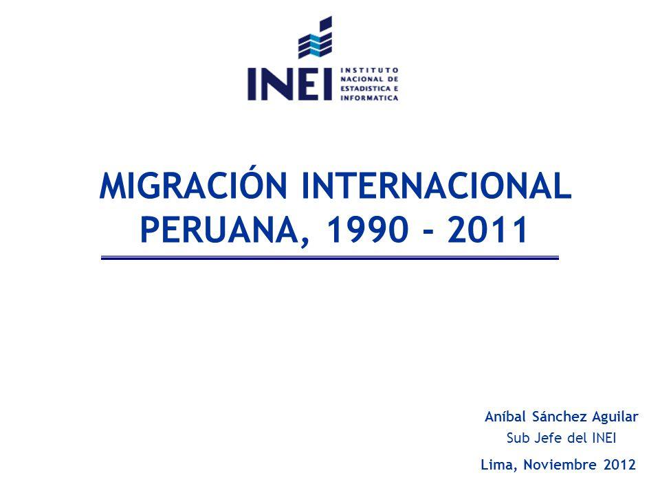 MIGRACIÓN INTERNACIONAL PERUANA, 1990 - 2011 Aníbal Sánchez Aguilar Lima, Noviembre 2012 Sub Jefe del INEI