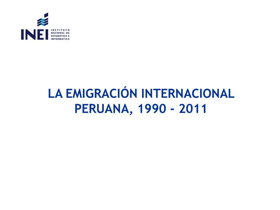 EMIGRACIÓN INTERNACIONAL DE PERUANOS, 1990-2011 4 Fuente: Dirección General de Migraciones y Naturalización (DIGEMIN).