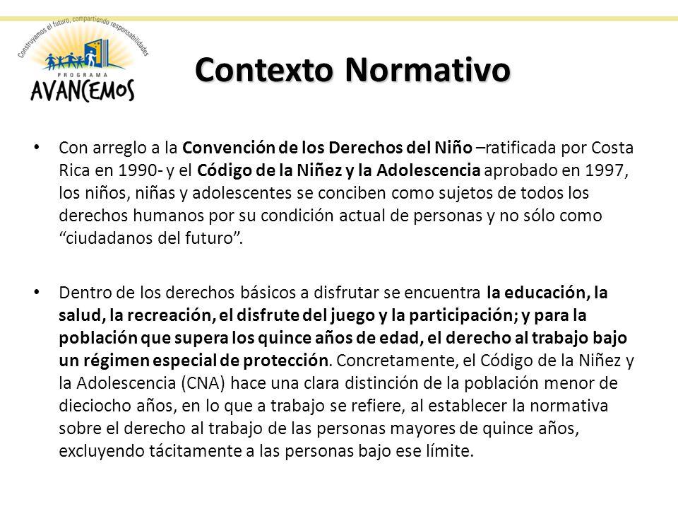 Contexto Normativo Con arreglo a la Convención de los Derechos del Niño –ratificada por Costa Rica en 1990- y el Código de la Niñez y la Adolescencia aprobado en 1997, los niños, niñas y adolescentes se conciben como sujetos de todos los derechos humanos por su condición actual de personas y no sólo como ciudadanos del futuro.