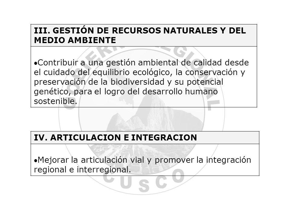 III. GESTIÓN DE RECURSOS NATURALES Y DEL MEDIO AMBIENTE Contribuir a una gestión ambiental de calidad desde el cuidado del equilibrio ecológico, la co