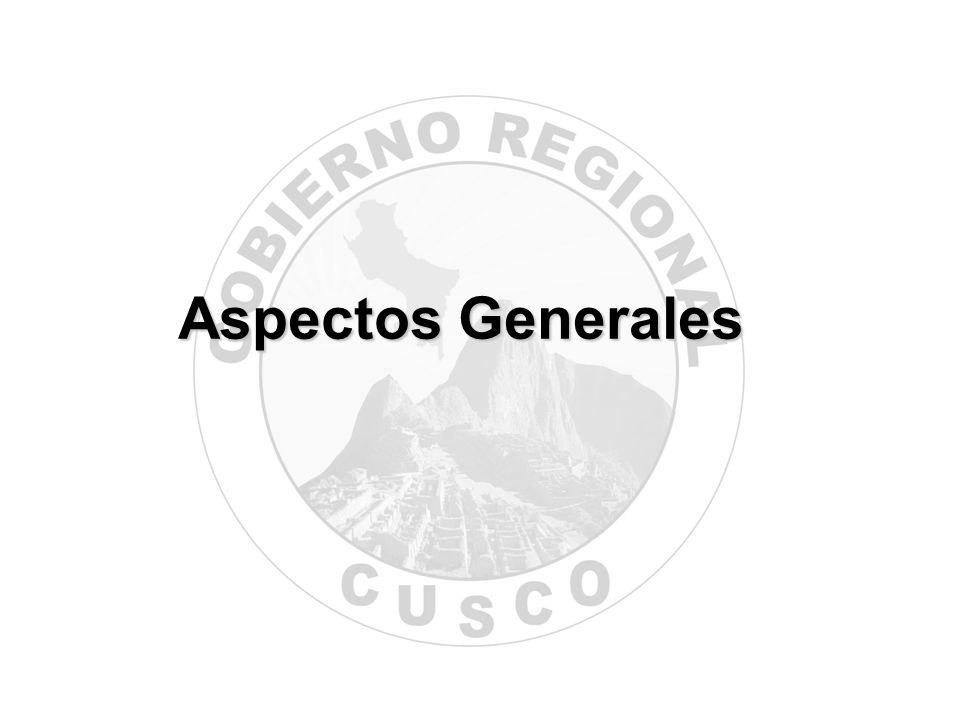 Los lineamientos de política regional del Gobierno Regional Cusco, se enmarcan en los objetivos del Plan de Desarrollo Regional Concertado Cusco al 2012, tomando en consideración los Objetivos de Desarrollo del Milenio, el Acuerdo Nacional, el Plan de Gobierno Regional 2007-2010, el Acuerdo por el Cusco y el Informe 020-2007- GR/GRPPAT-SGPL.