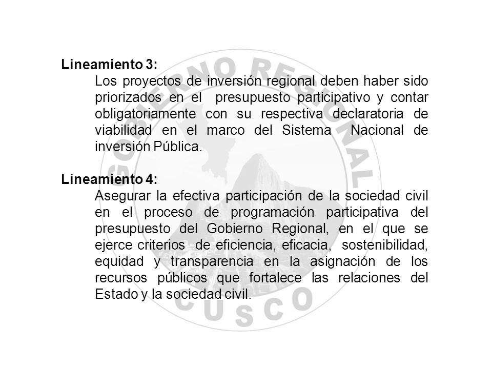 Lineamiento 3: Los proyectos de inversión regional deben haber sido priorizados en el presupuesto participativo y contar obligatoriamente con su respe