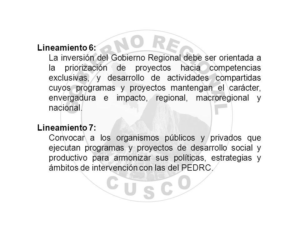 Lineamiento 6: La inversión del Gobierno Regional debe ser orientada a la priorización de proyectos hacia competencias exclusivas, y desarrollo de act