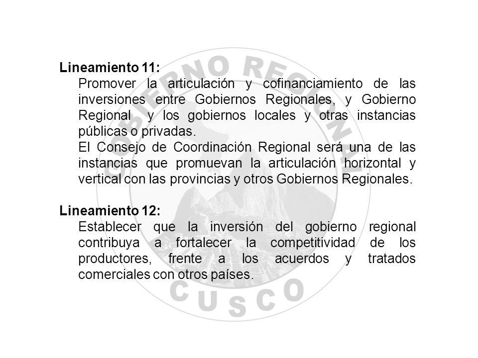 Lineamiento 11: Promover la articulación y cofinanciamiento de las inversiones entre Gobiernos Regionales, y Gobierno Regional y los gobiernos locales