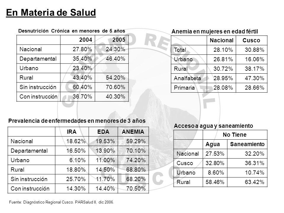 20042005 Nacional27.80%24.30% Departamental35.40%46.40% Urbano23.40% Rural43.40%54.20% Sin instrucción60.40%70.60% Con instrucción36.70%40.30% IRAEDAA