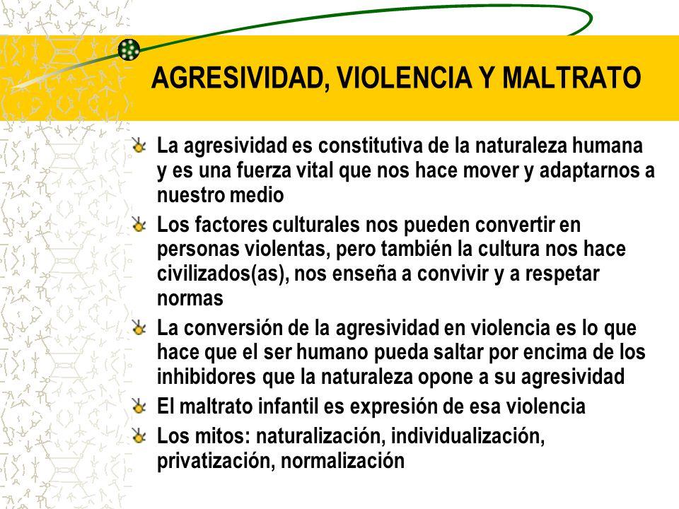 AGRESIVIDAD, VIOLENCIA Y MALTRATO La agresividad es constitutiva de la naturaleza humana y es una fuerza vital que nos hace mover y adaptarnos a nuest