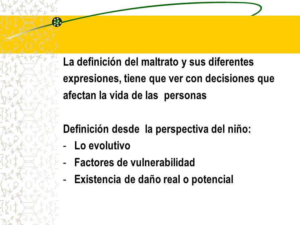 La definición del maltrato y sus diferentes expresiones, tiene que ver con decisiones que afectan la vida de las personas Definición desde la perspect