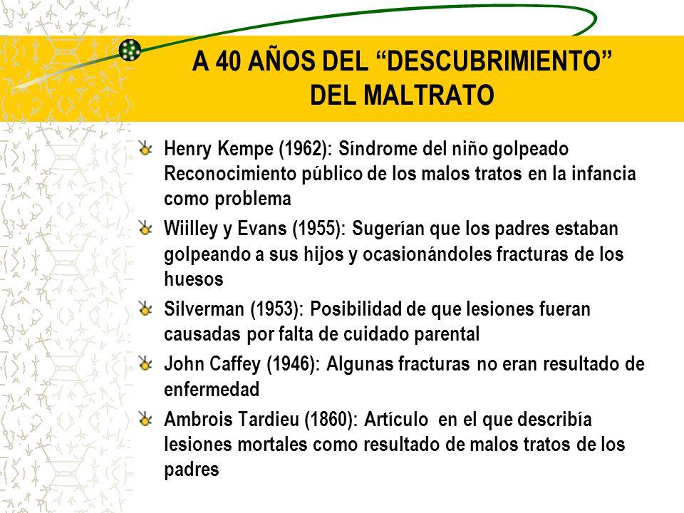A 40 AÑOS DEL DESCUBRIMIENTO DEL MALTRATO Henry Kempe (1962): Síndrome del niño golpeado Reconocimiento público de los malos tratos en la infancia com